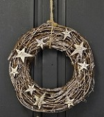 ISB62068 - 12in Twig Ring Wreath-Platinum Stars-3/24pcs