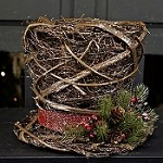 M8523 - 10x8in Glitter Rattan Top Hat Décor-1/12pcs